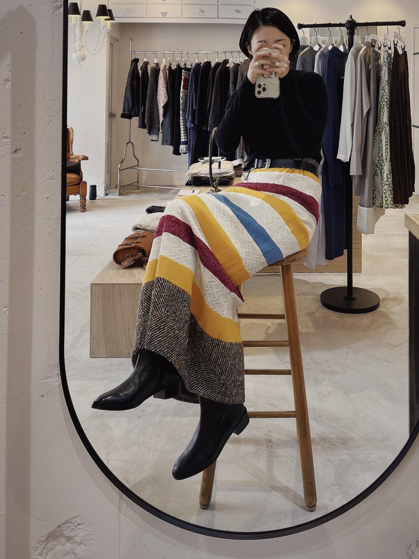 70's vintage wool border design skirt