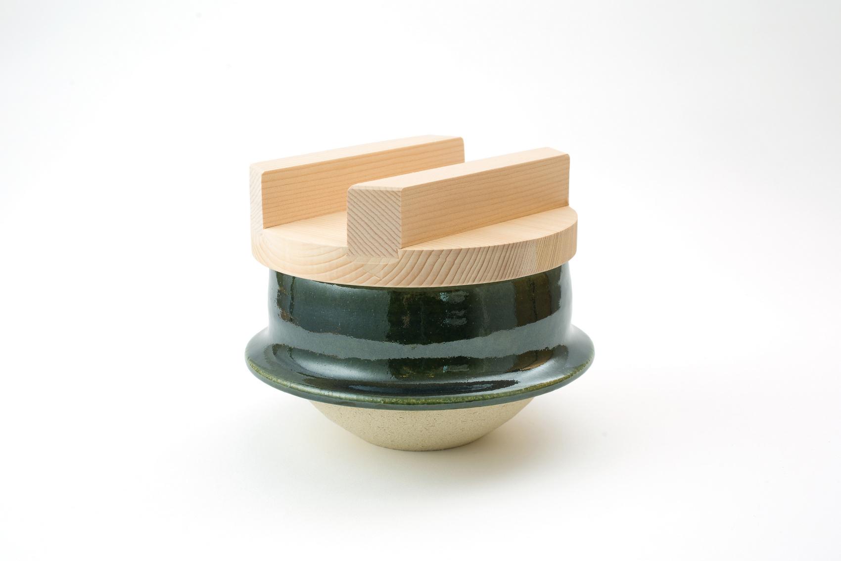 土楽・織部羽釜8寸(4〜8合炊き)