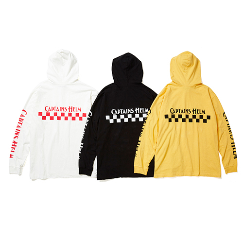 CAPTAINS HELM #CH CHECKER HOOD L/S TEE