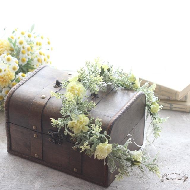 【花冠】フリルローズ(イエロー)とボリューミーグリーンの花冠*細サテン選べる5色