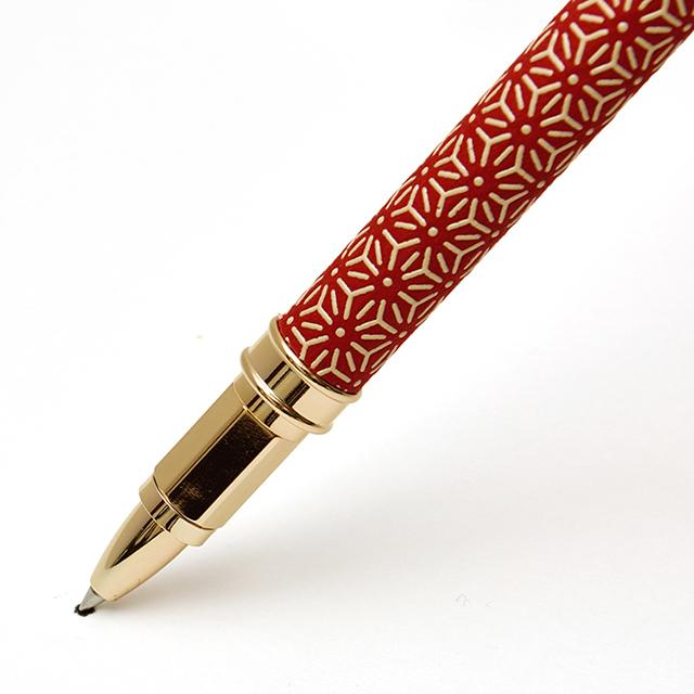 印伝水性ボールペン 麻の葉 赤革×白漆