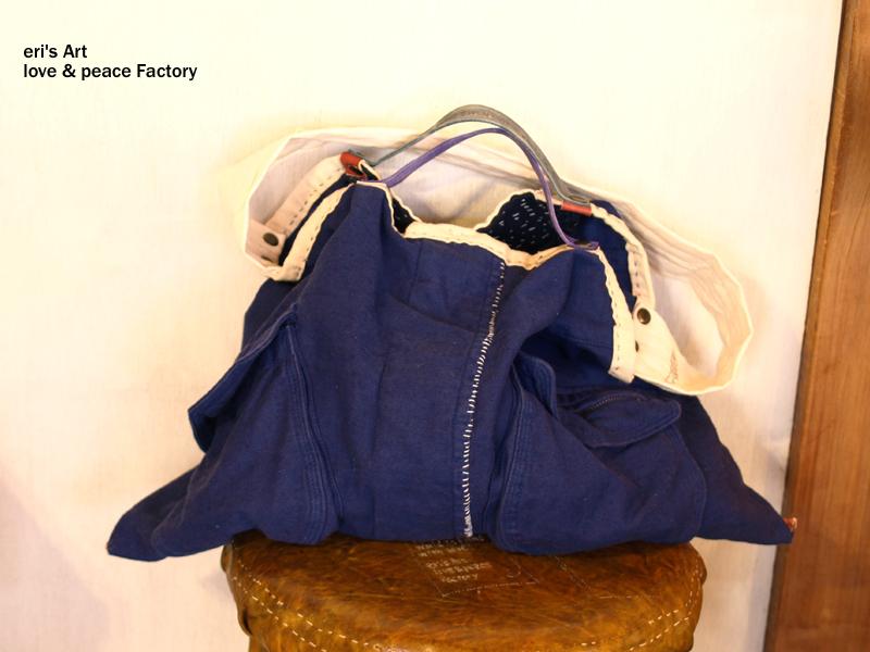 綿麻と革の藍色バッグ bag-093