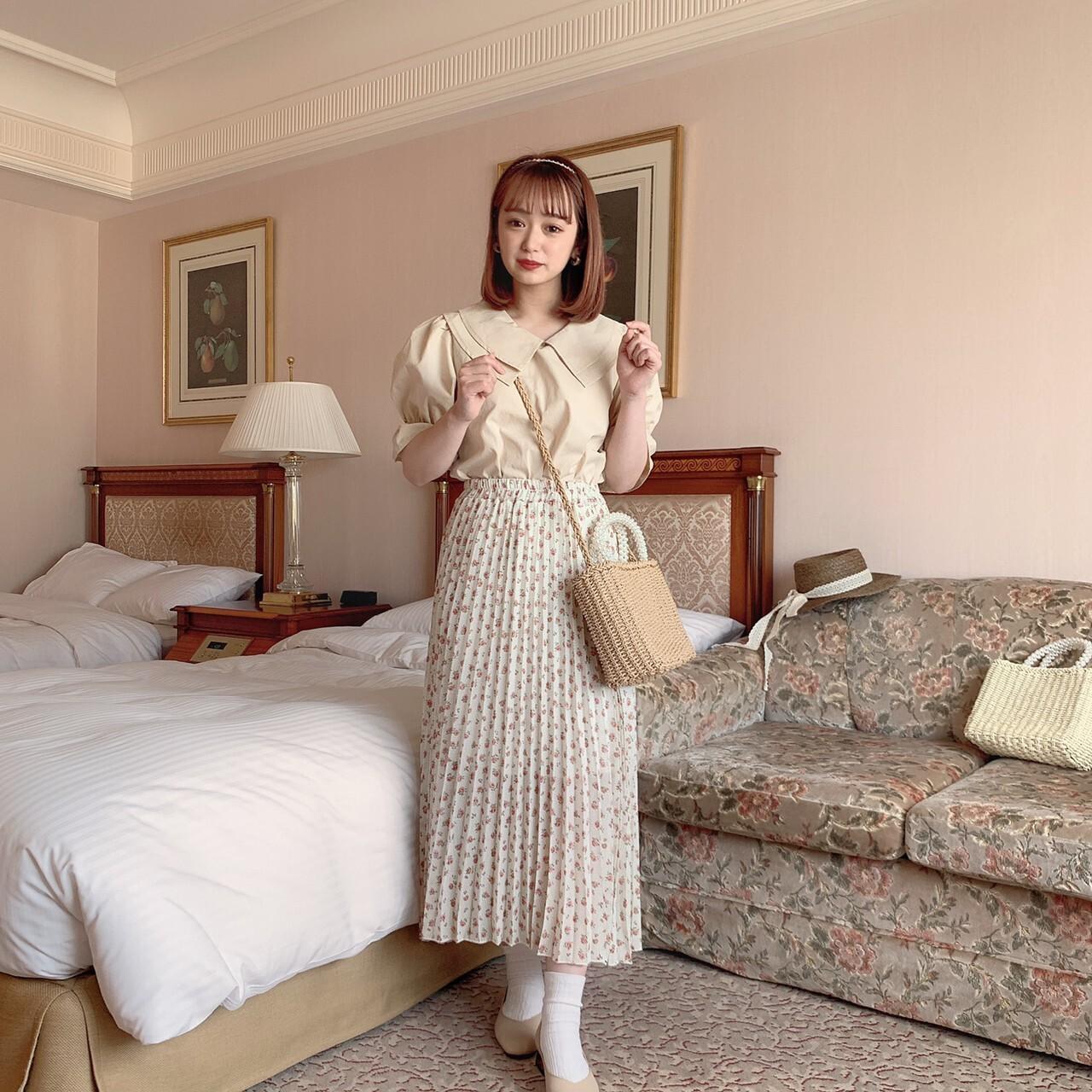 【meltie】flower pleats skirt