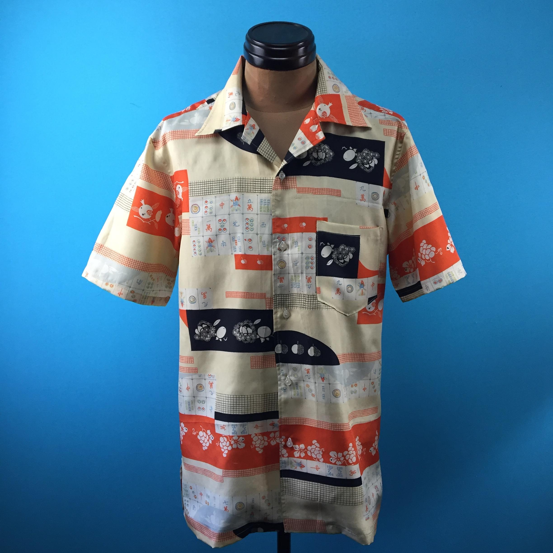Vintage 着物の麻雀アロハ*US S