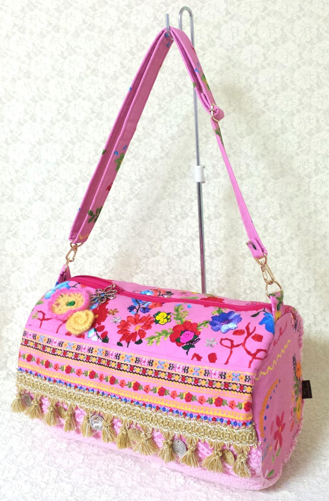 ジプシースカートバッグ【ピンクのお花畑】