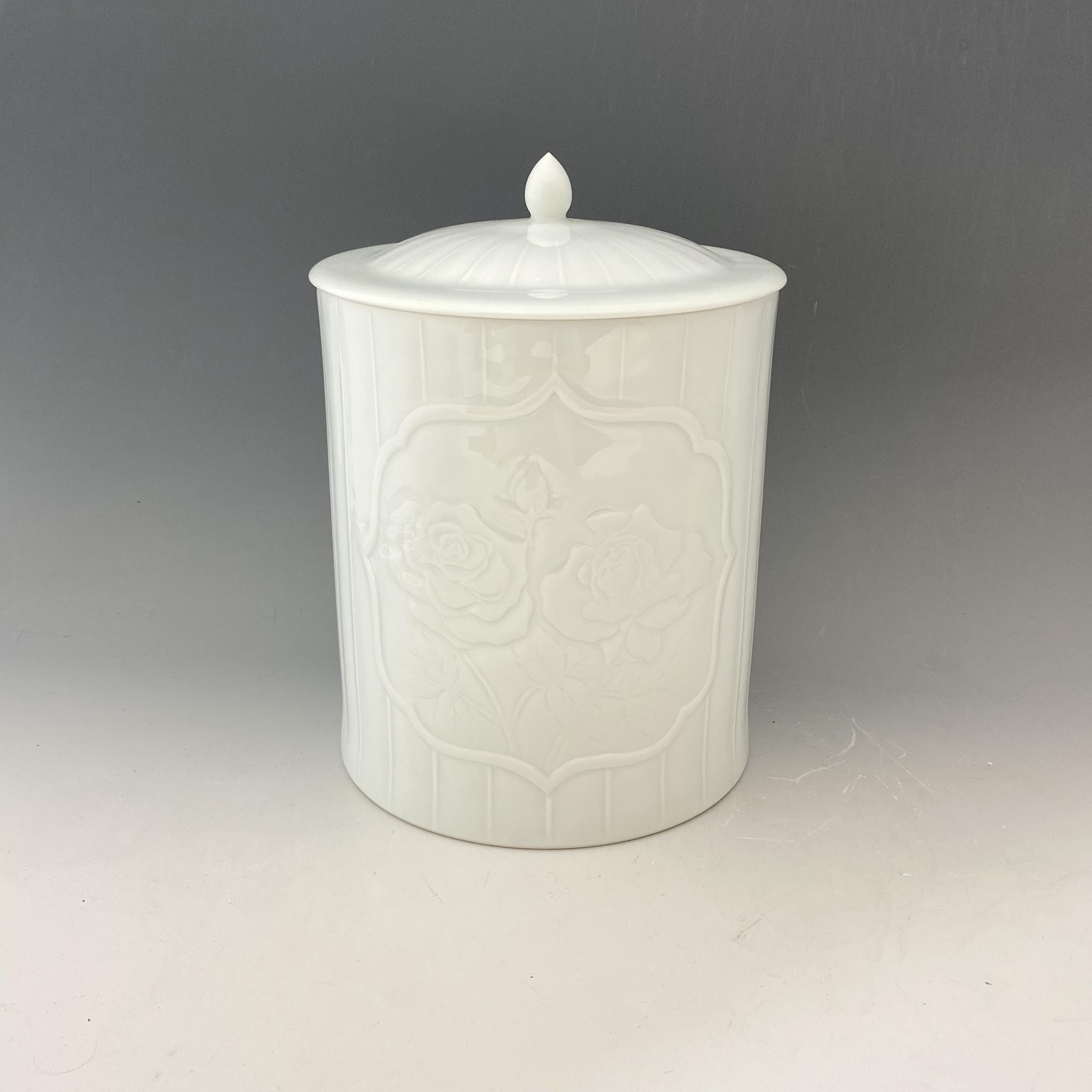 【中尾恭純】白磁線彫薔薇文骨壺