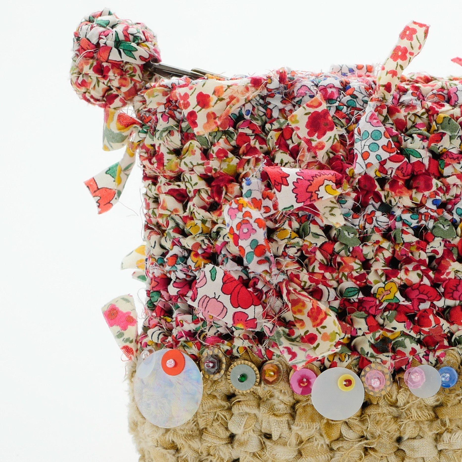 わたしだけのリバティ咲き編みポーチ×スパンコール~レッド