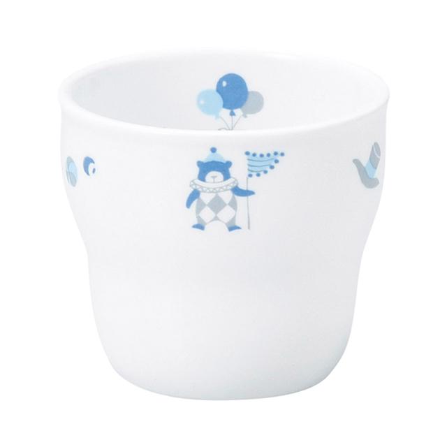 【1986-1300】強化磁器 持ちやすい乳児用カップ(Φ7cm×H6cm/満水150㎖) シルク