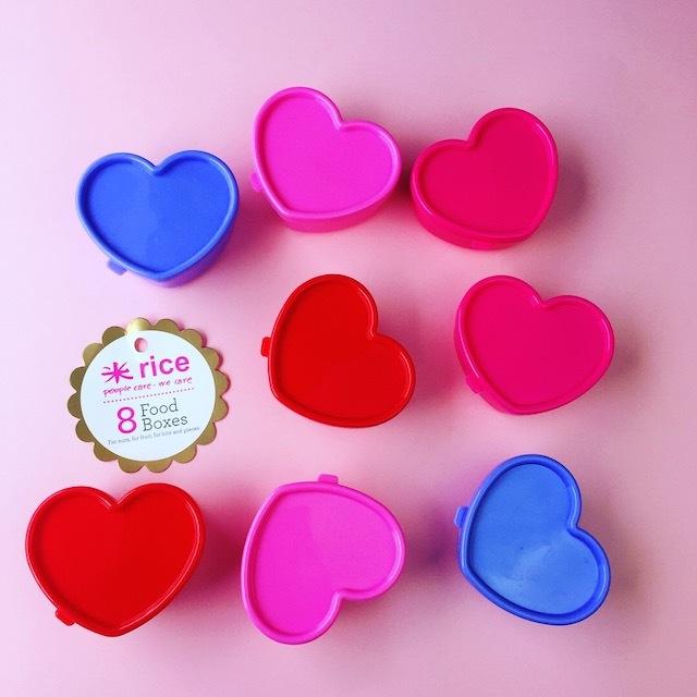 再入荷!デンマーク rice プラスチックフードボックス8個SET/ HEART