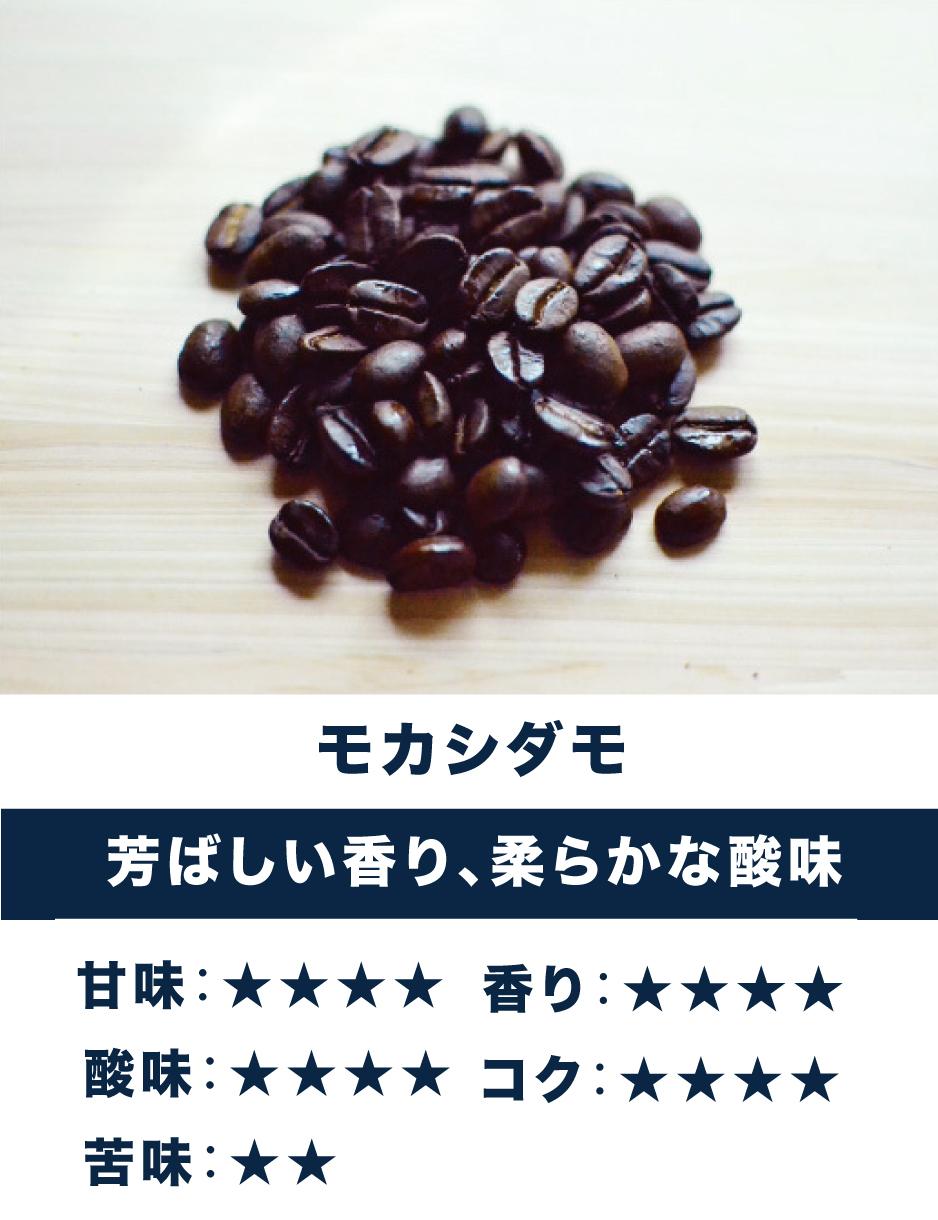 モカシダモ ☆酸味・香り系☆ 芳ばしい香り、柔らかな酸味、しっかりとした苦み。