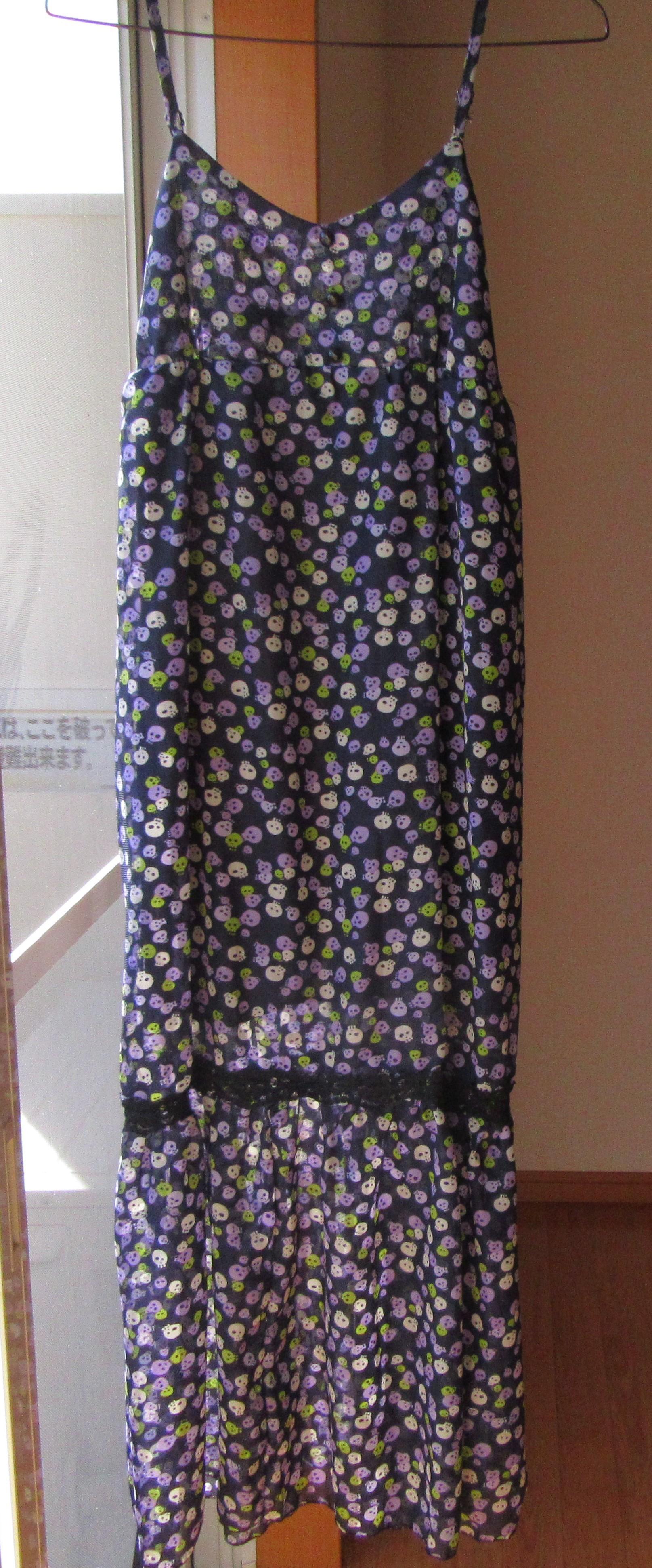 キャミソールワンピース 紺 ドクロ ロングスカート 古着 Sサイズ