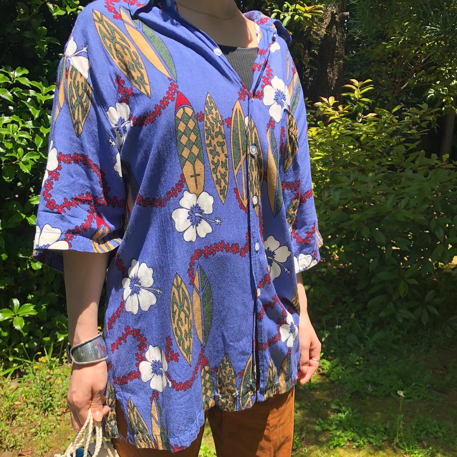 Flower print aloha  shirt