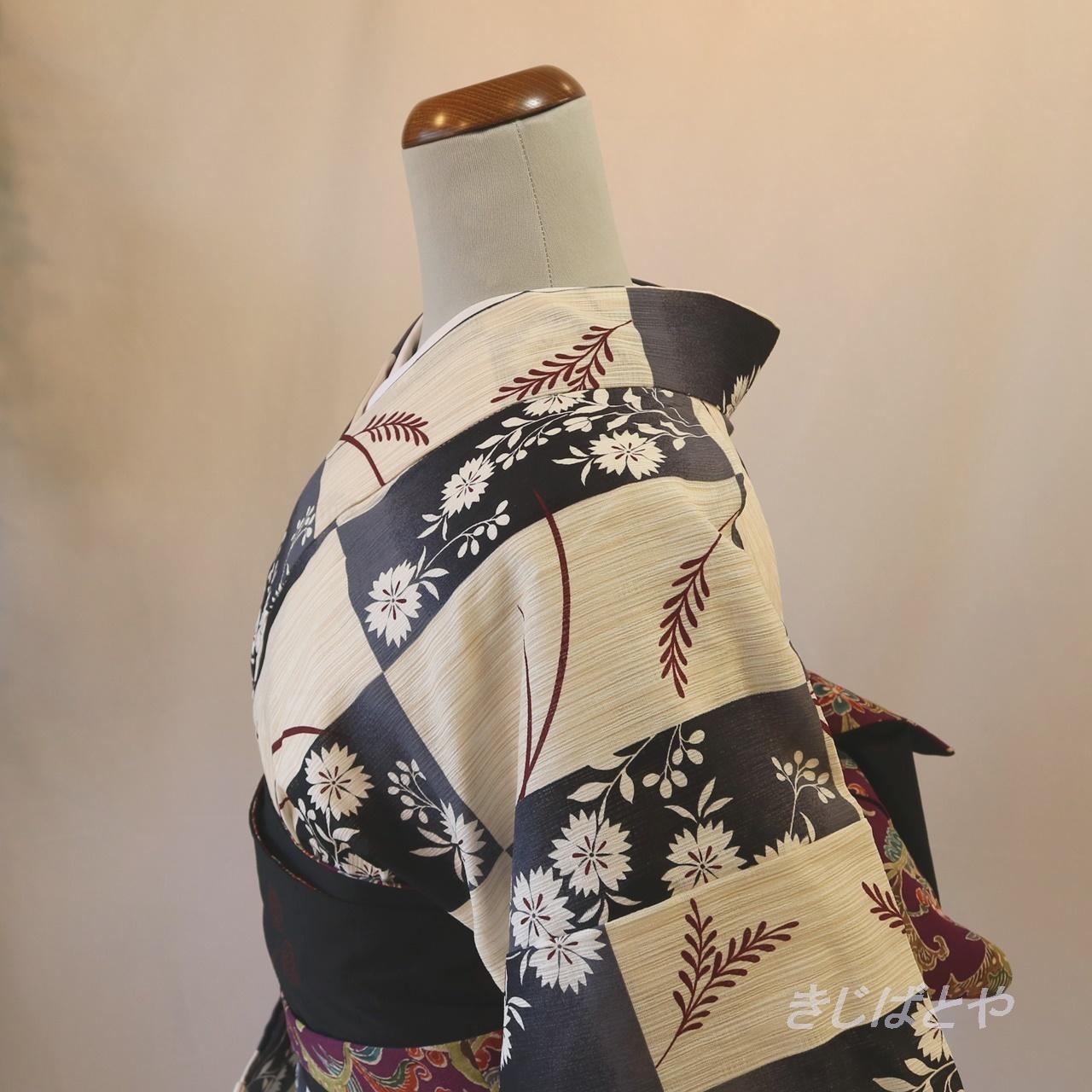 綿麻 市松に撫子の浴衣
