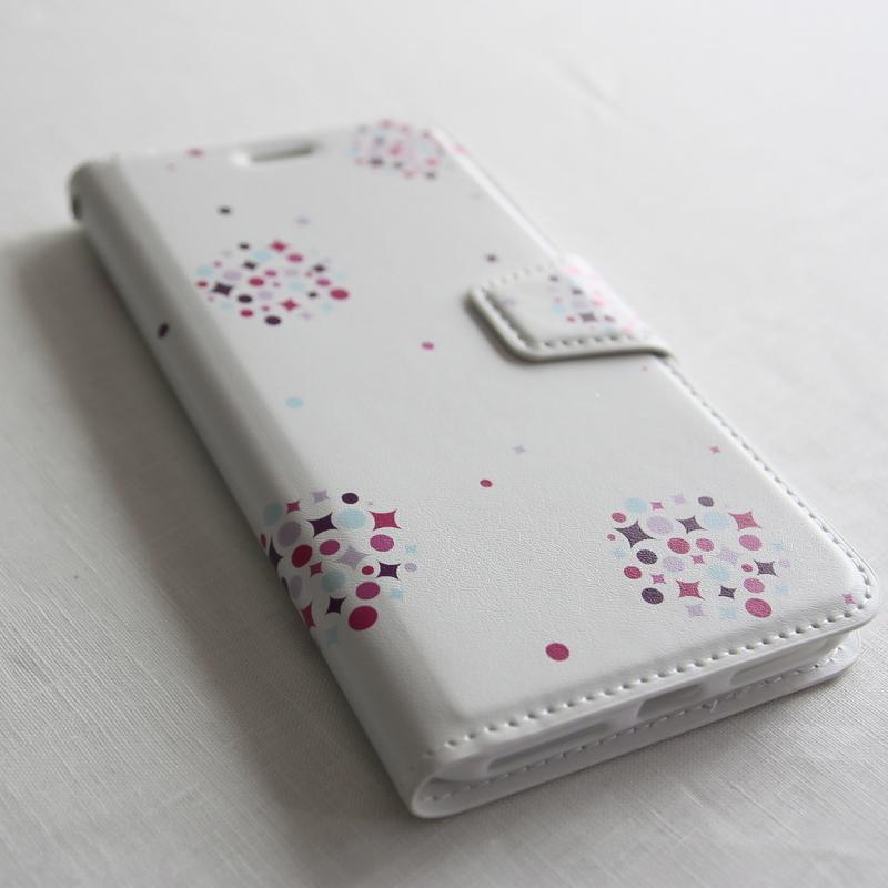 amane cu〔スマートフォンケース(手帳タイプ)〕くすだま【胡粉色】- for iPhone