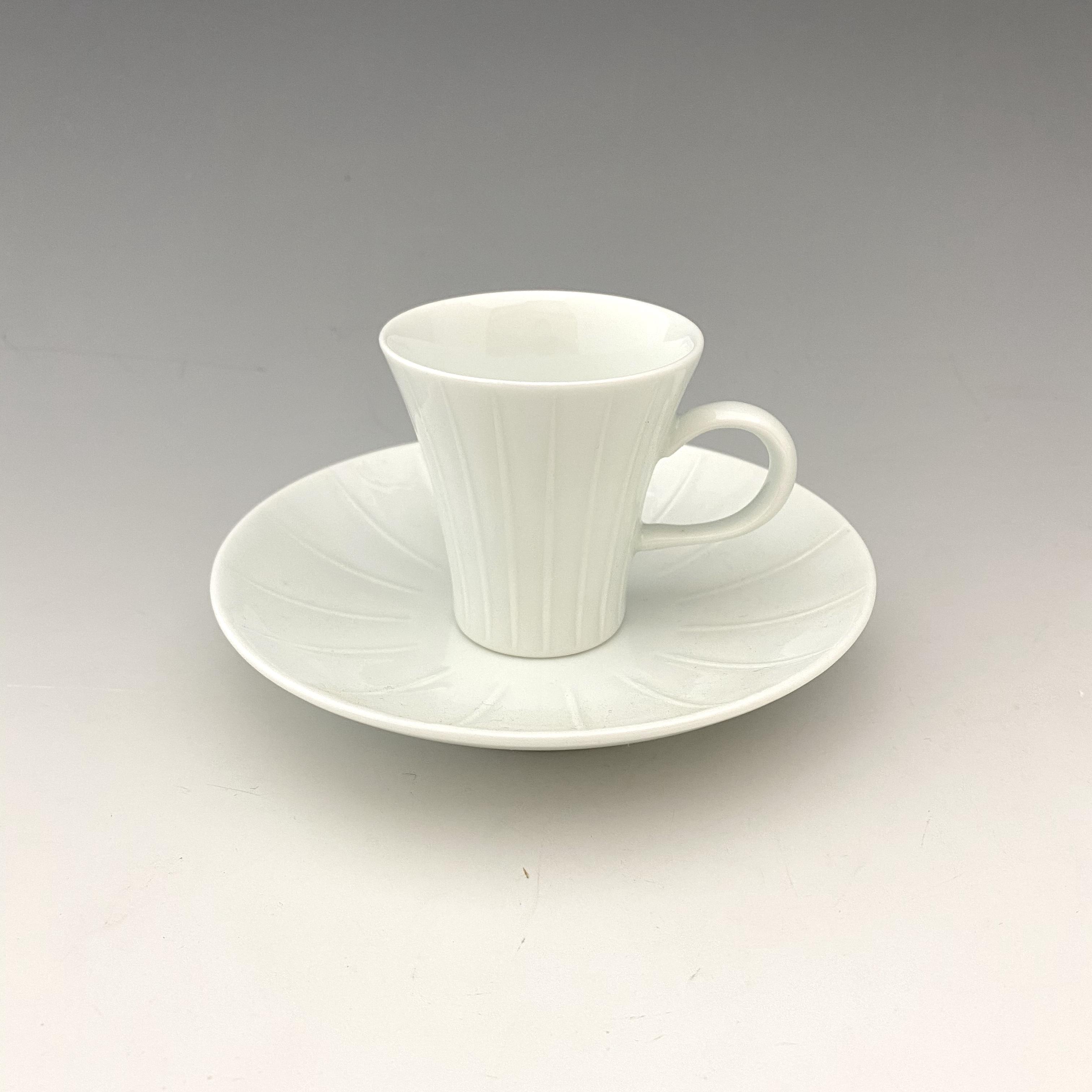 【中尾恭純】白磁線彫エスプレッソ碗皿(小)