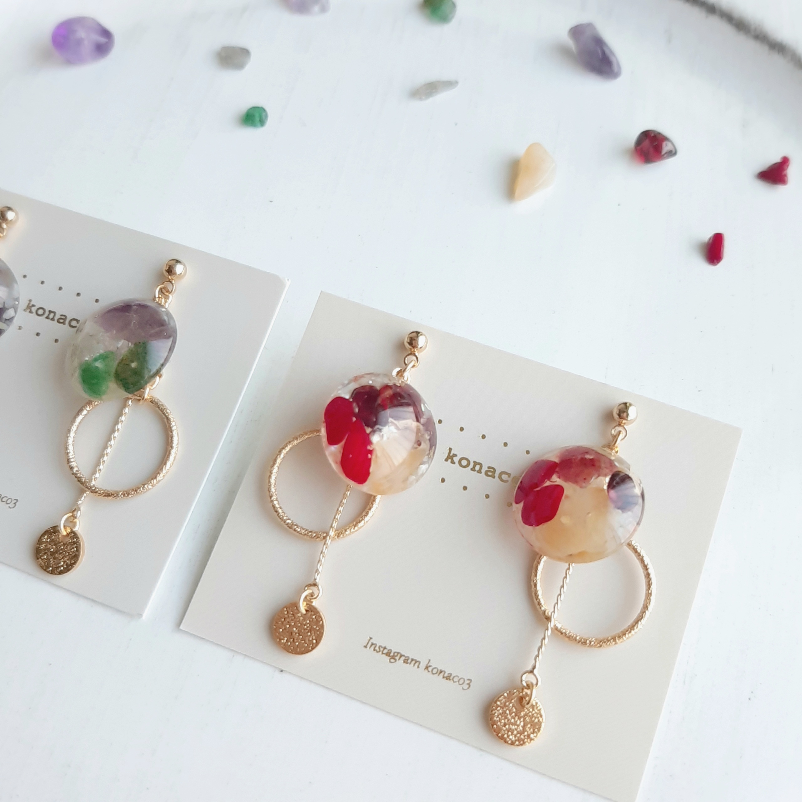 3色の天然石*autumnサークルピアス・イヤリング