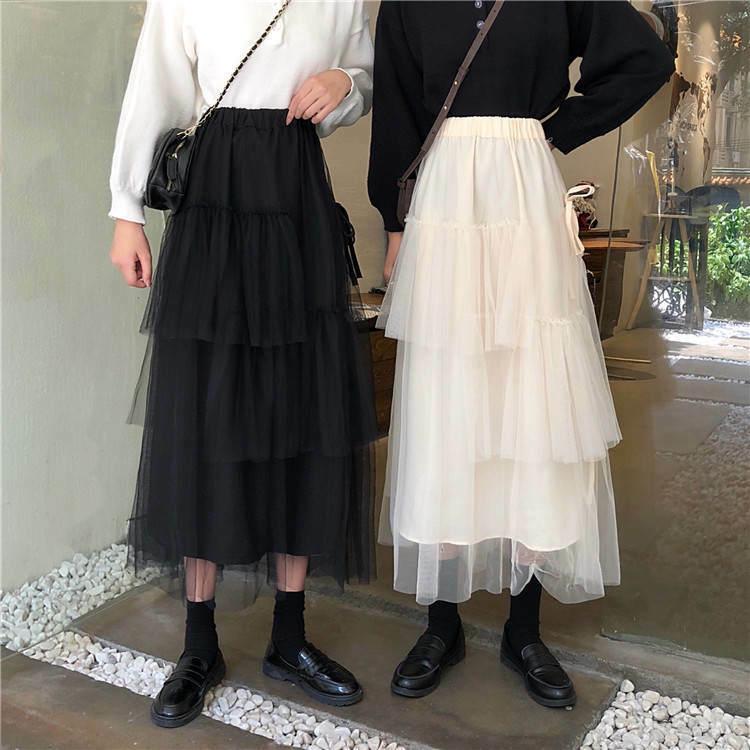 【送料無料】チュールが可愛い ♡ ガーリー ティアード リボン ロング スカート ボトム