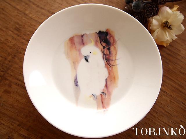 キバタン(白色オウム)お皿 中サイズ(鳥の食器)