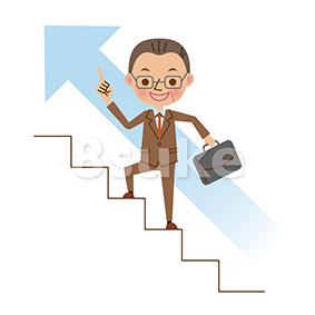 イラスト素材:階段を登る中年のビジネスマン(ベクター・JPG)