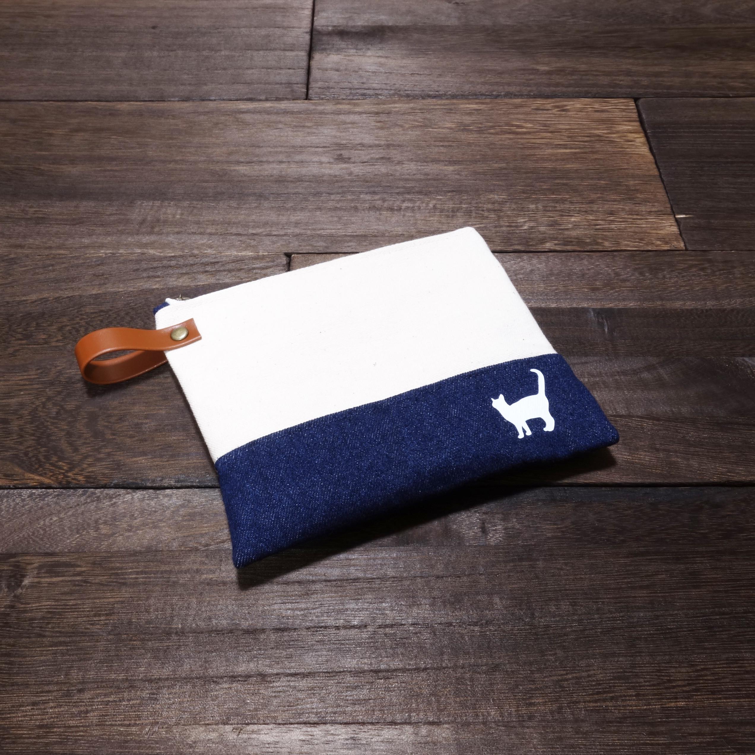 猫のシルエット 帆布&デニムポーチ DE10