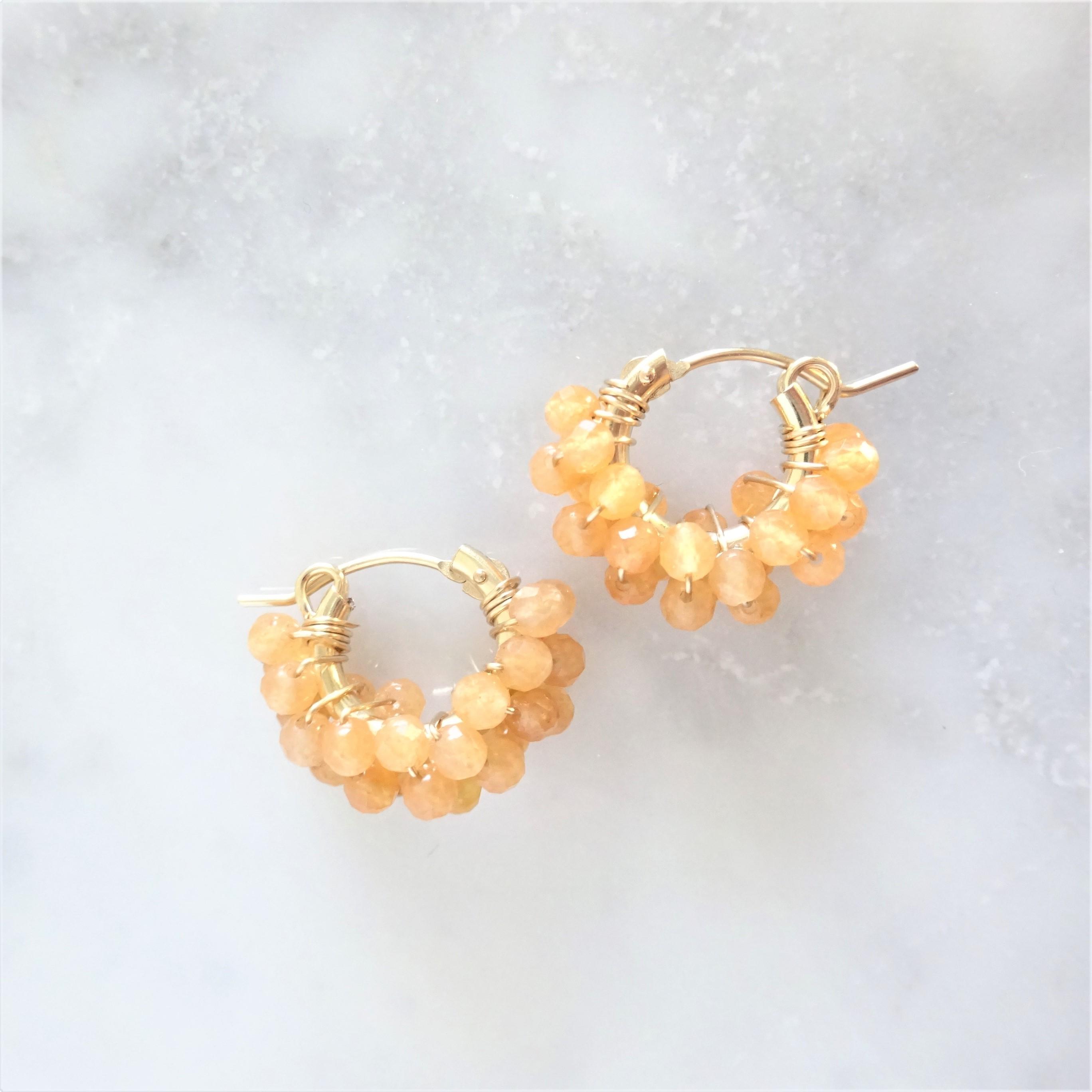 14kgf*Orange Aventurine pavé pierced earring / earring
