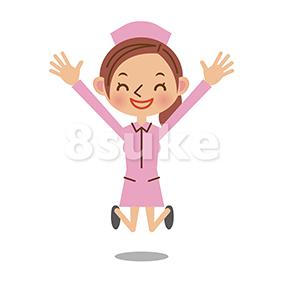イラスト素材:バンザイをする看護師/ナース(ベクター・JPG)