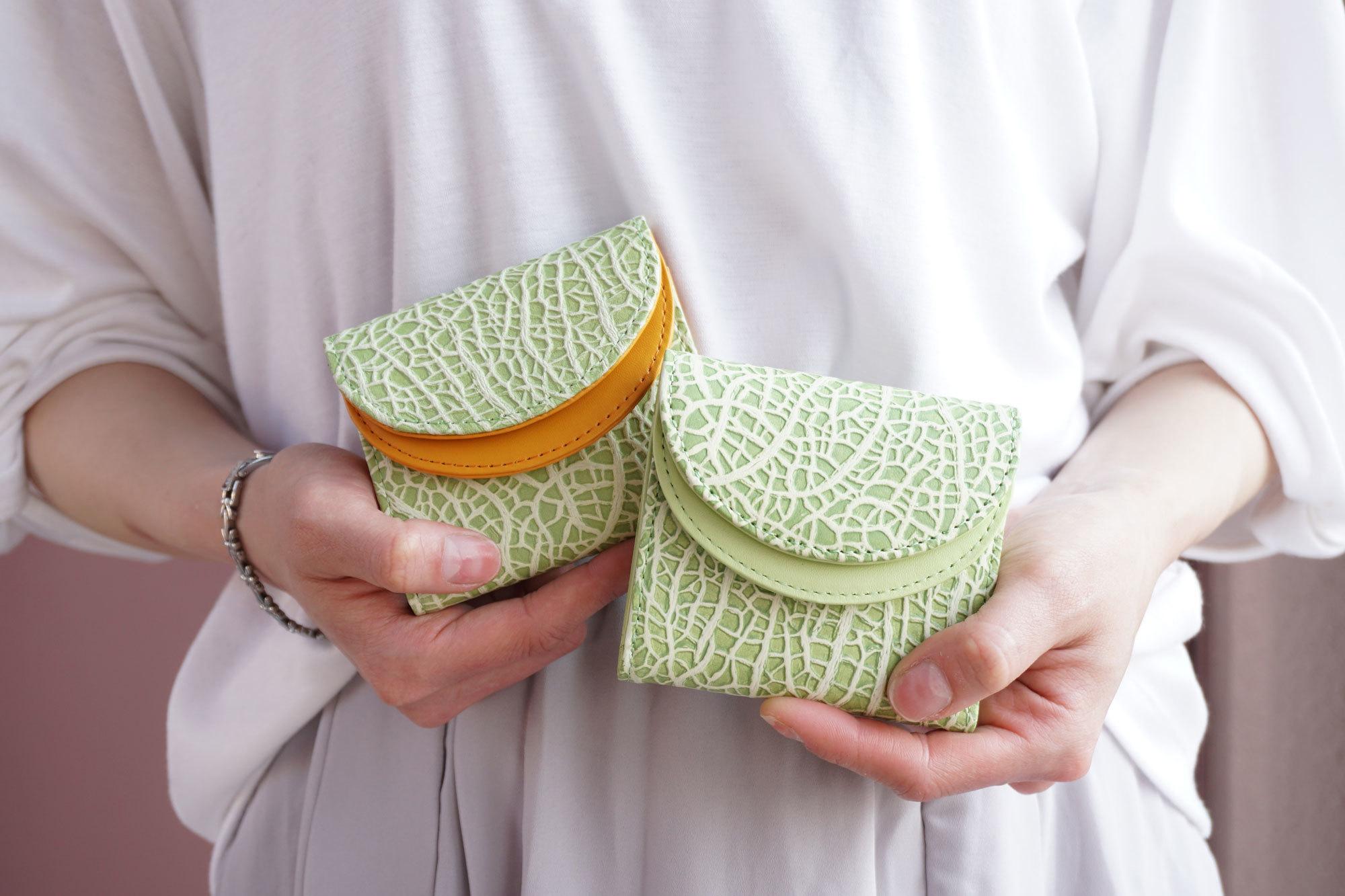 旅行用メロン。メロンな3つ折り財布(牛革製)