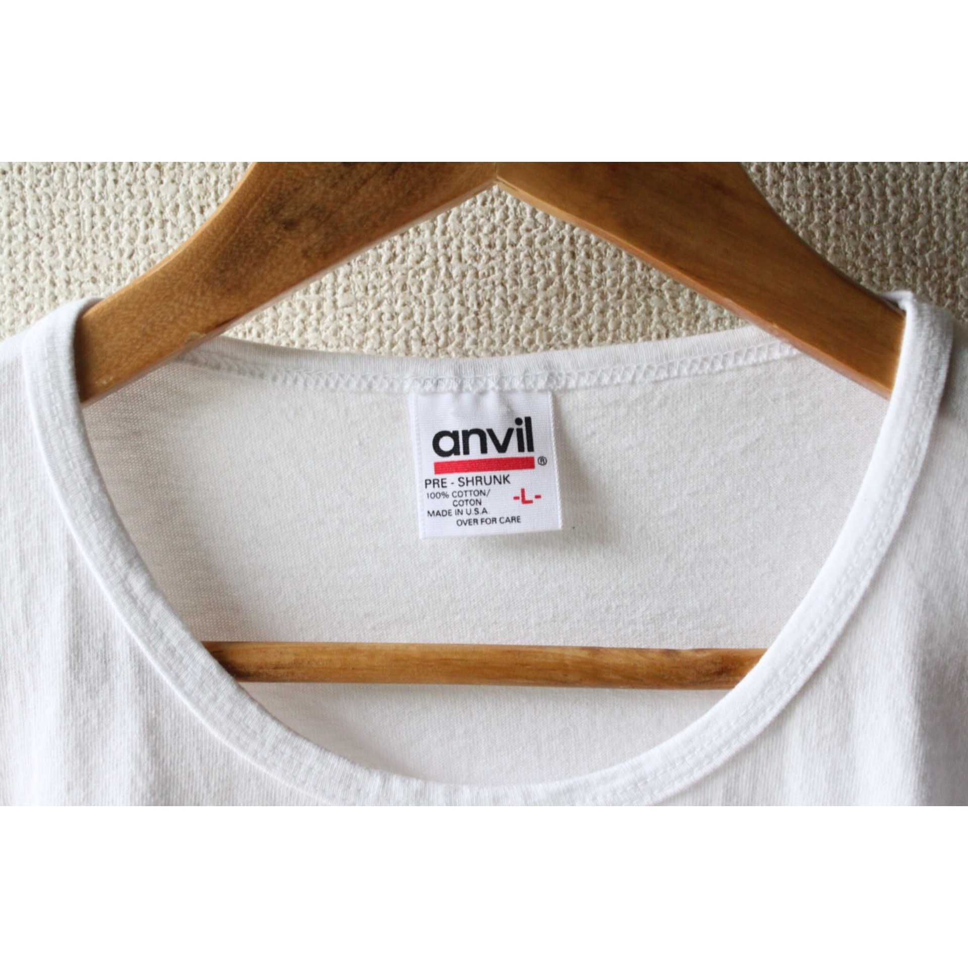 Vintage no-rib plain white t shirt
