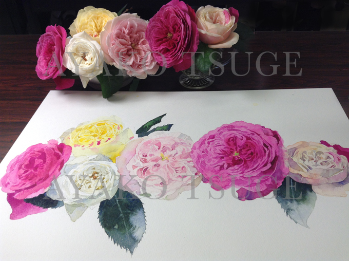 残2席 2019年前期 名古屋水彩ワークショップ 素敵なガラス花瓶と和バラを描く全6回