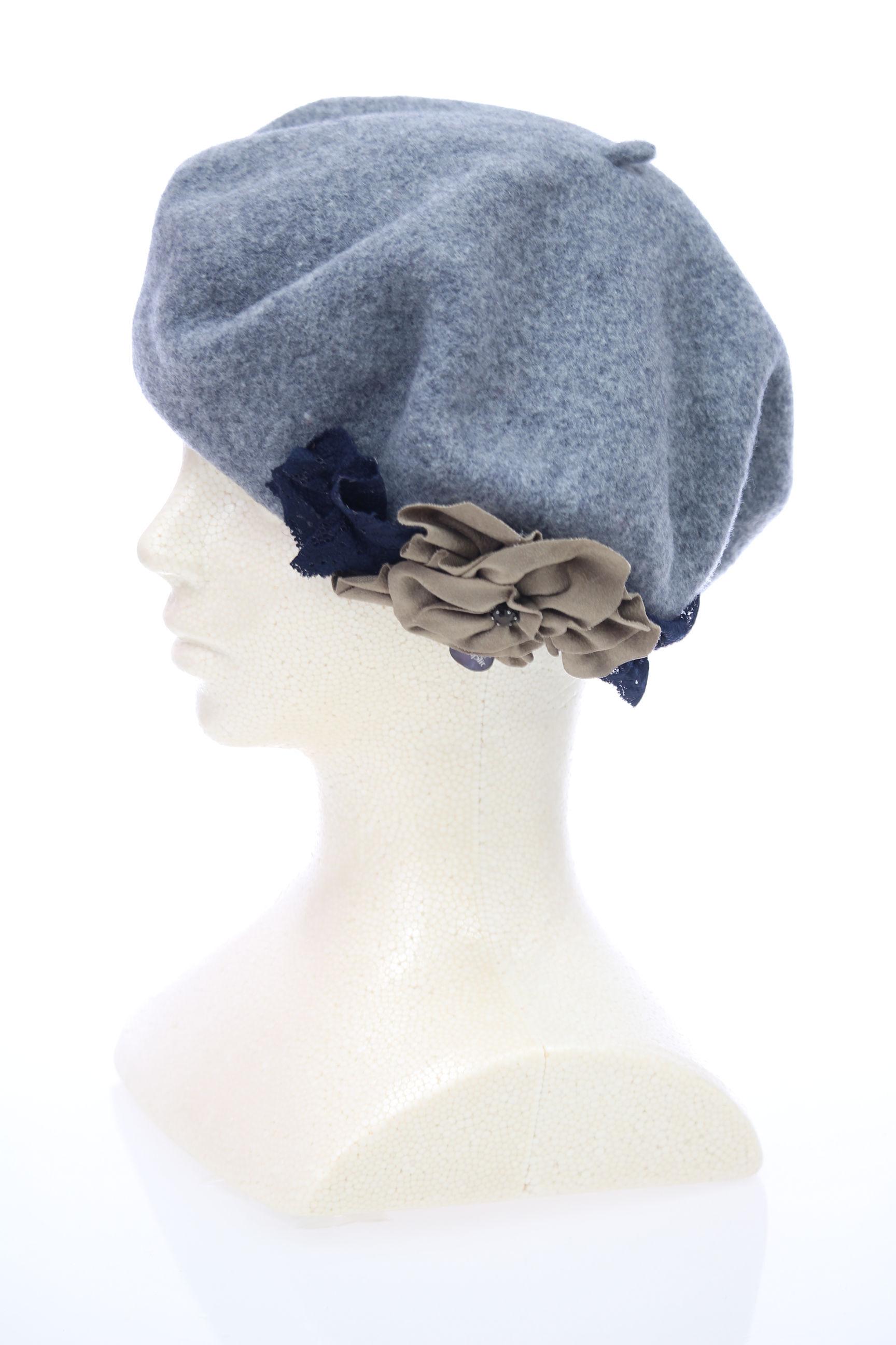 花付きイタリアベレー帽【グレー】