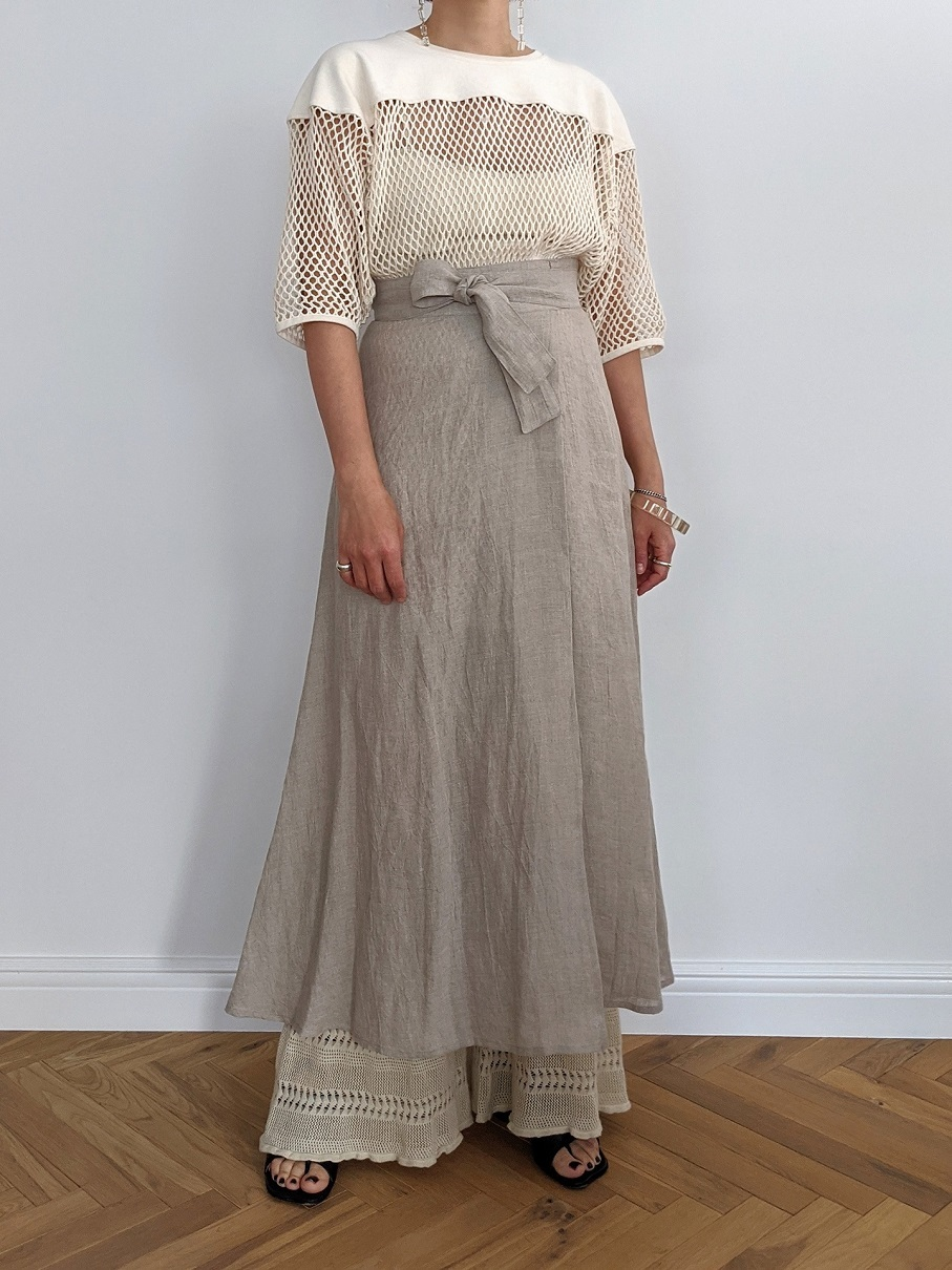 French Linen Wrap Skirt - L/Beige