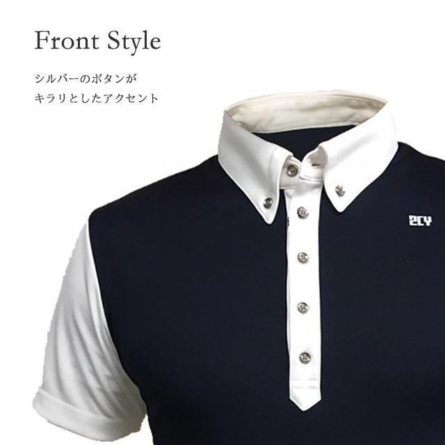 ゴルフプロ監修 配色縦ライン半袖シャツ【日本製】紺×白