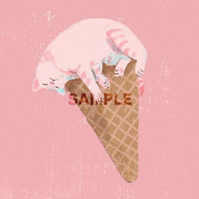 台湾ポストカード「猫アイス-苺」