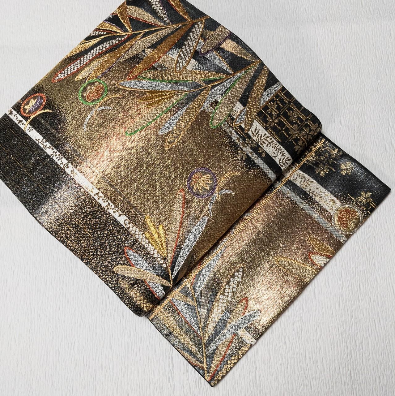 【使用感少】袋帯 西陣織証紙あり 六通 金糸 箔 若松 黒×ゴールド