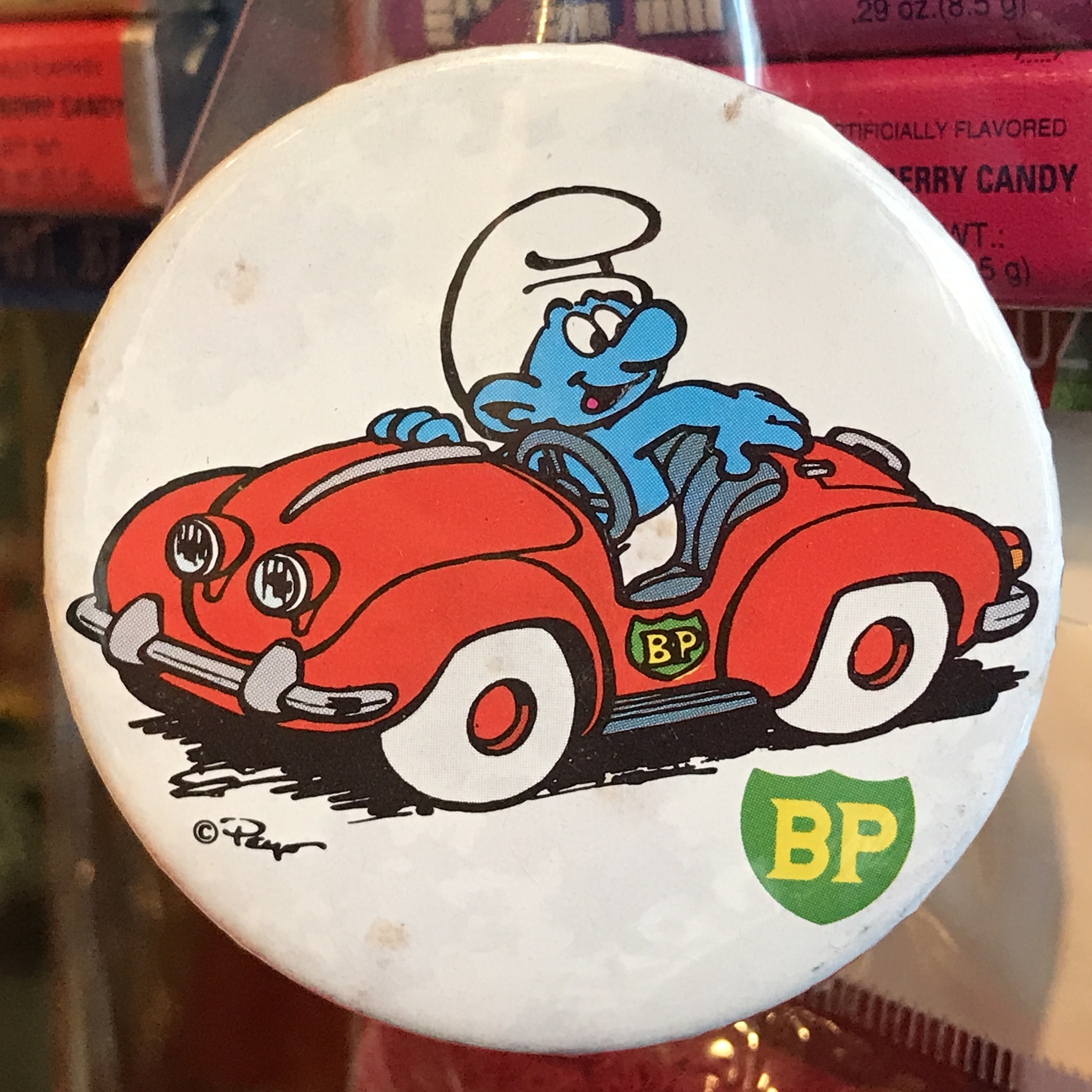 スマーフ 80's BP 企業物 オールド 缶バッジ 赤い車ver.