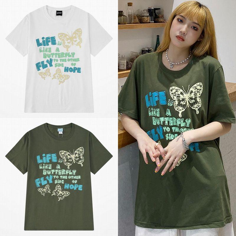 ユニセックス Tシャツ 半袖 メンズ レディース ラウンドネック 英字 バタフライ 蝶 プリント オーバーサイズ 大きいサイズ ルーズ ストリート