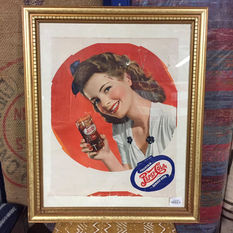 品番2772 ヴィンテージ ポスター 1940年代 PEPSI COLA ペプシコーラ レトロ 広告 額装