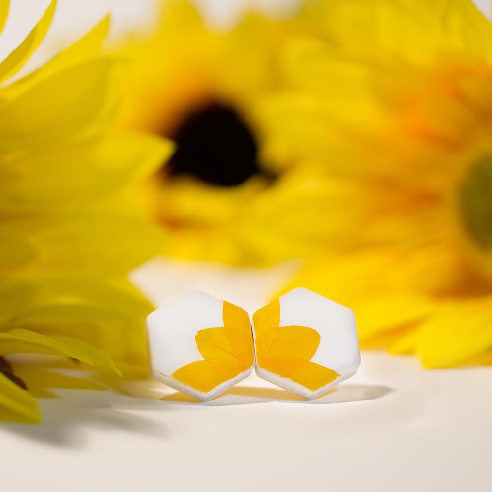 伝統工芸品 美濃焼 向日葵のイヤリング&ピアス