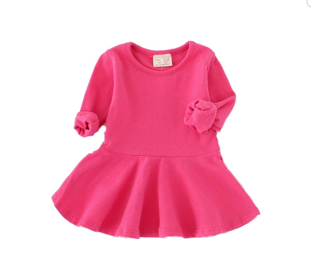 5344634f7131a 選べる7色 全色揃えたいシンプルな長袖 フレアワンピース ガールズ 女の子 ベビー キッズ 子供 赤ちゃん 洋服