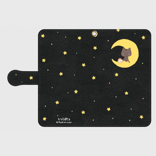 手帳型✿くー&ちぃと三日月✿黒