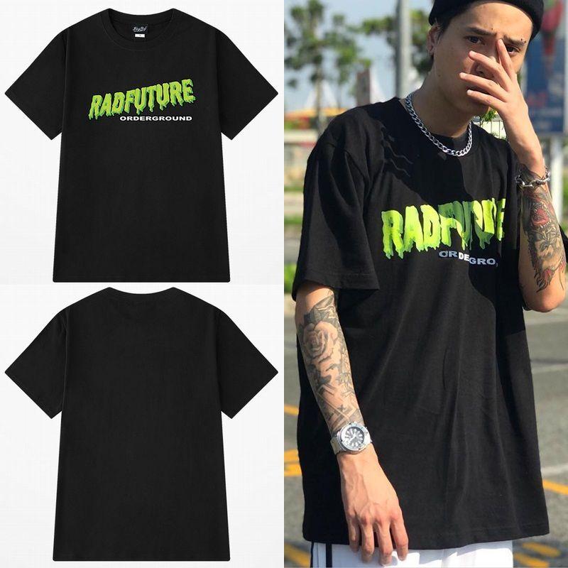 ユニセックス 半袖 Tシャツ メンズ レディース シンプル 英字 RADFUTURE プリント オーバーサイズ 大きいサイズ ルーズ ストリート