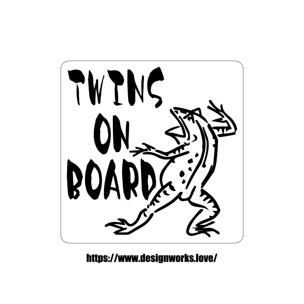 マグネット 全8色 TWINS ON BOARD 鳥獣戯画 かえる