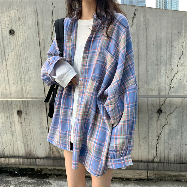 【送料無料】 ルーズシルエット♡ ゆるだぼ カジュアル パステルカラー チェック柄 オーバーサイズ シャツ 羽織り