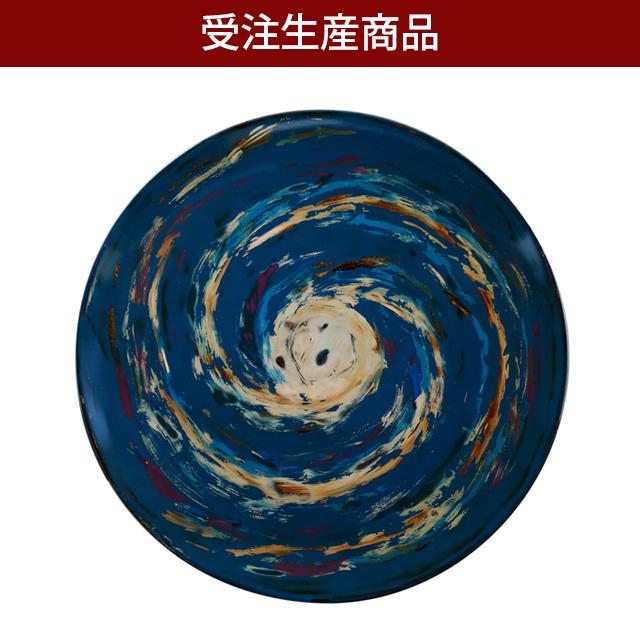 丸皿7.0寸うず巻銀河(研ぎ出し塗)