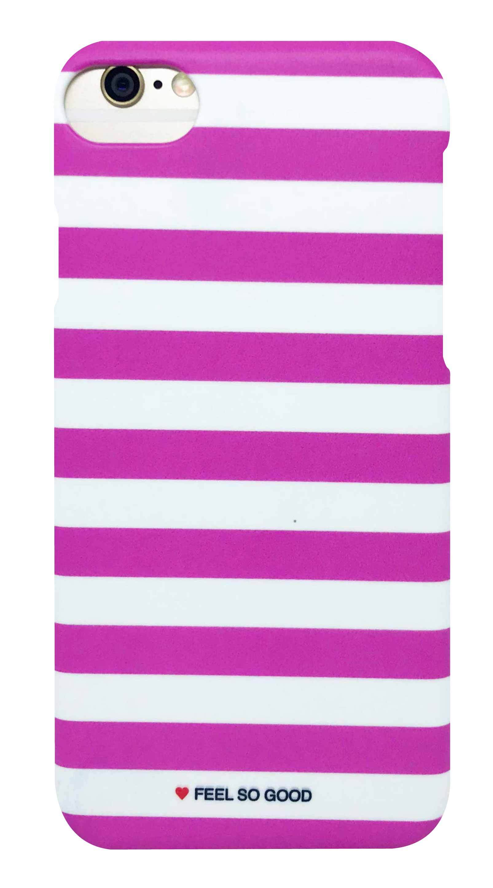 ボーダー ・ 白 × ピンク つや消し ハード ケース