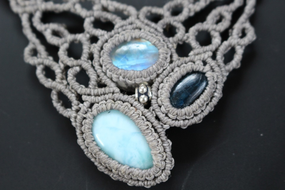 Larimar Kyanite Rainbowmoonstone necklace