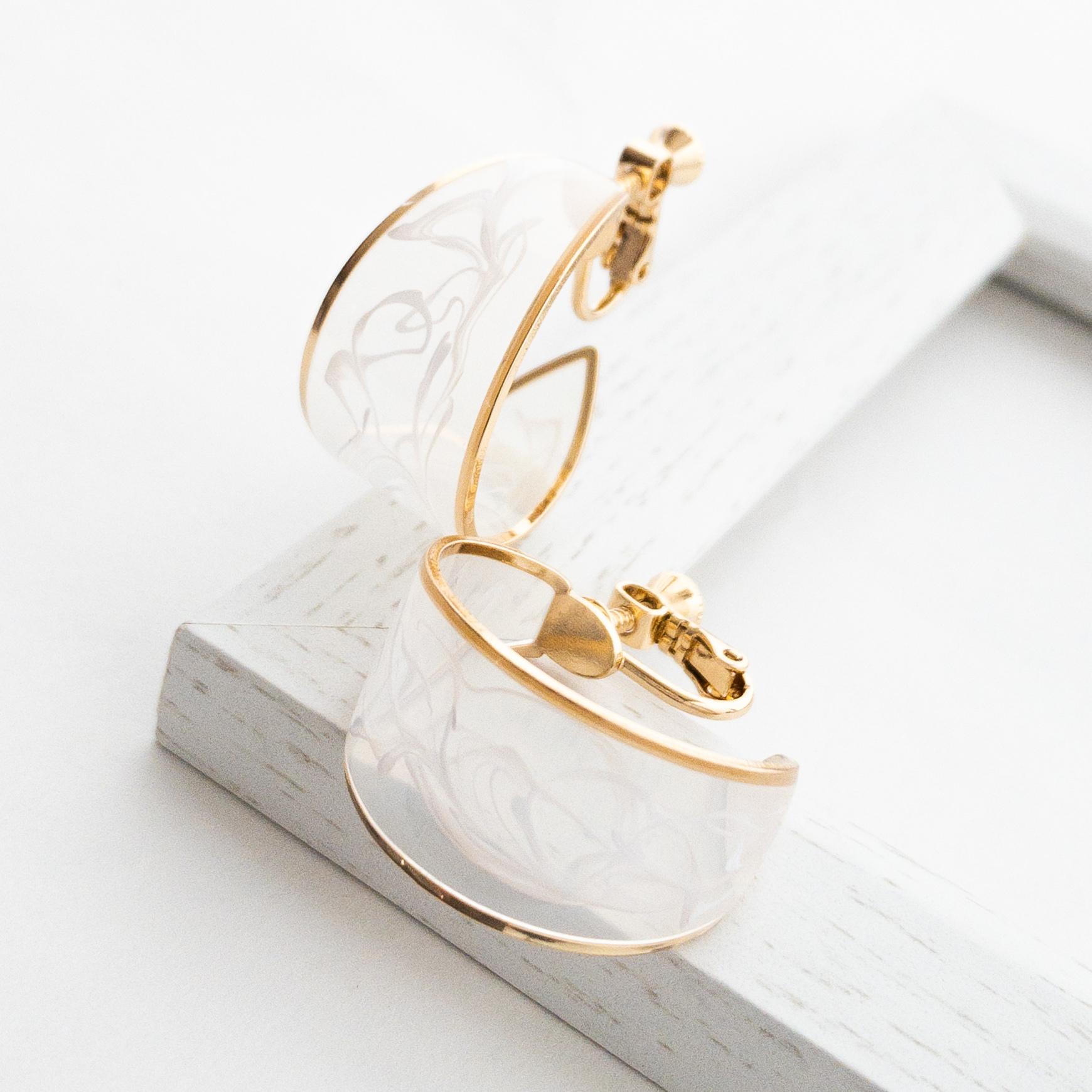 Resin marble hoop pierces/earrings
