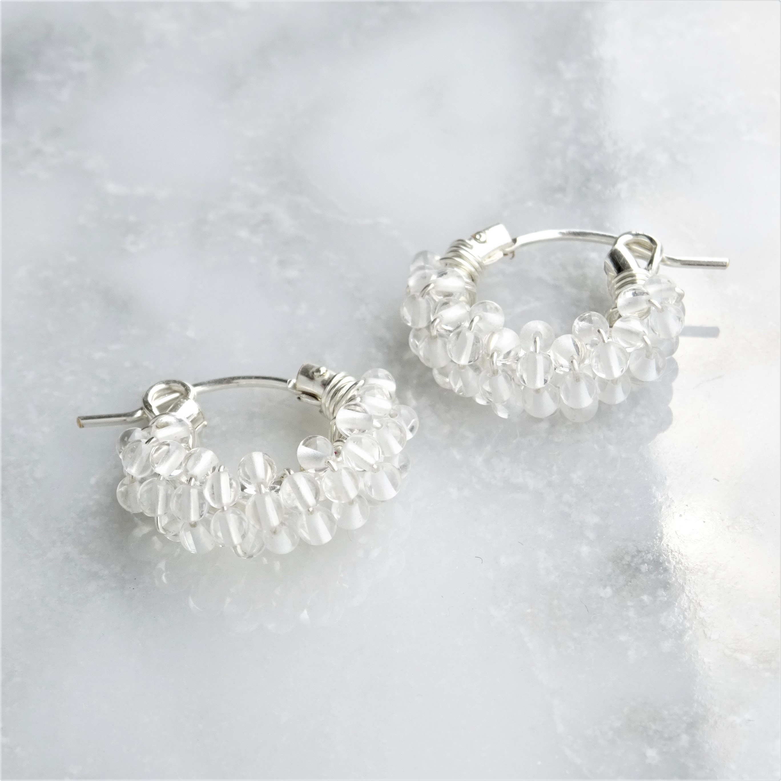 SV925SF*Crystal Quartz pavé pierced earring