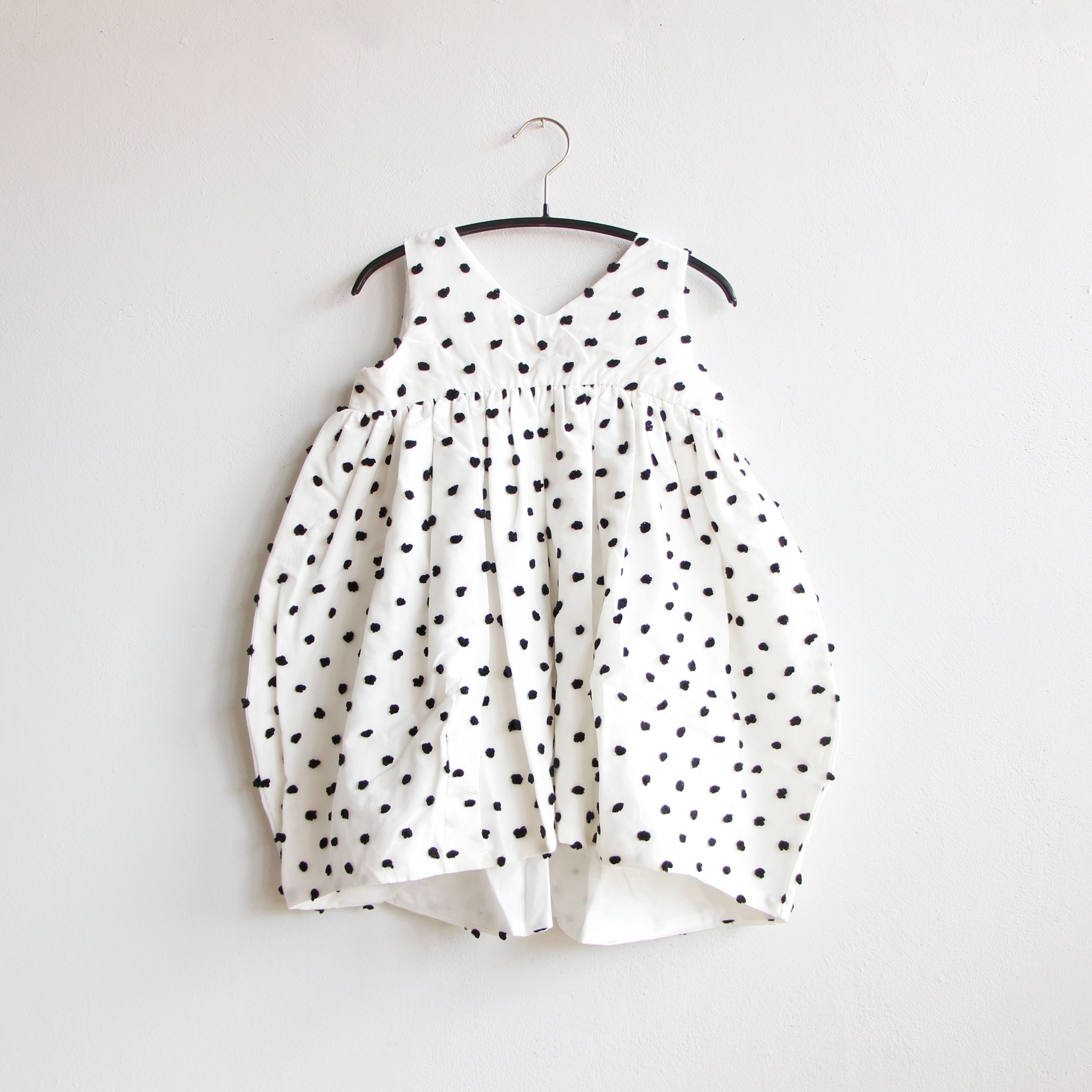 《frankygrow 2020SS》BONBON CUT JQ V-NECK DRESS / white × black bonbon / LL