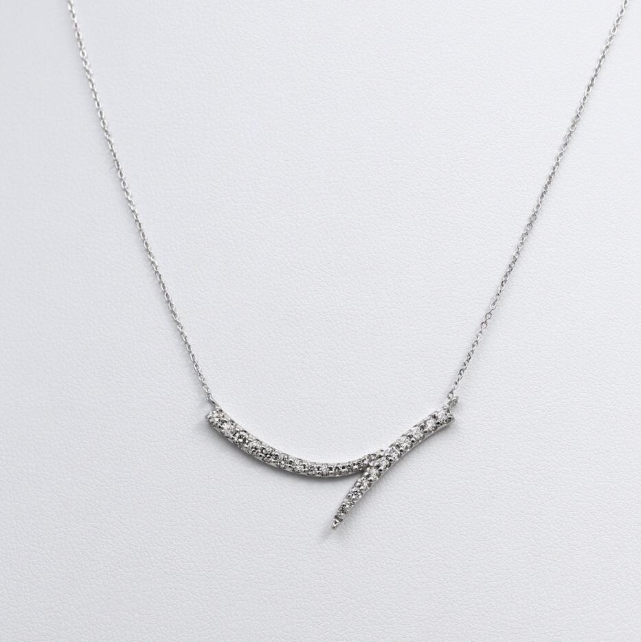 K18WG 0.50ctダイヤモンドネックレス ○
